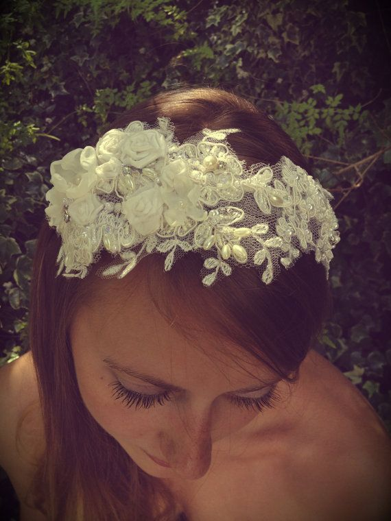 Bridal Lace and silk flower headband vintage by LucyFisherDesigns