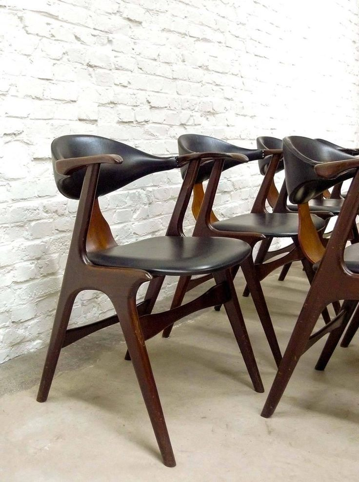 Dutch Design Cow Horn Dining Chairs By Louis Van Teeffelen For AWA