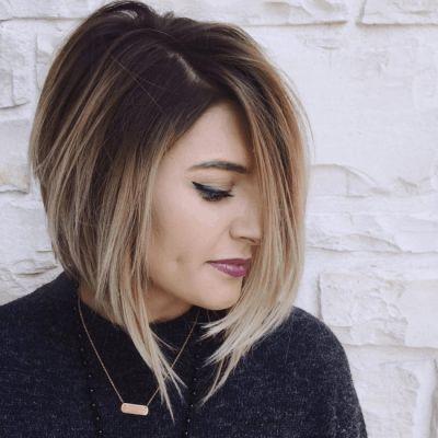 Chica con el cabello cortado estilo bob asimétrico