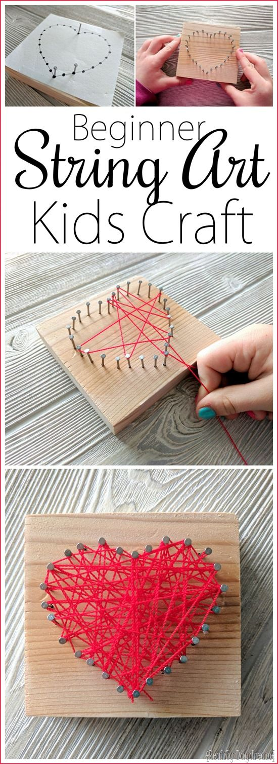 Heart-shaped Beginner String Art Kids Craft {Reality Daydream}