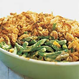 Green bean casserole. Easiest thing in the world. Canned green beans, cream of mushroom soup, a bit of milk, a splash of soy sauce, topped with crispy fried onions...and done!