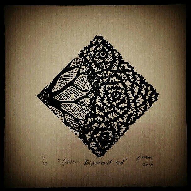 "My submission to the 2016 International Print Exchange by @greendoorstudios !  ""Green Diamond Cut"" Lino cut print on Lana paper, Djuwadi 2016  #IPE2016 #megaprintmakers #printmaking #printmakers #linocut #djuwadiprints"