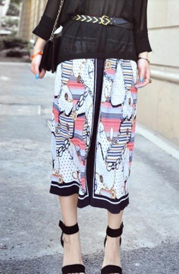 Navy Contrast Trim Hawaiian Print Chiffon Maxi Skirt: Womens Fashion, Cat, Chiffon Maxi Skirts