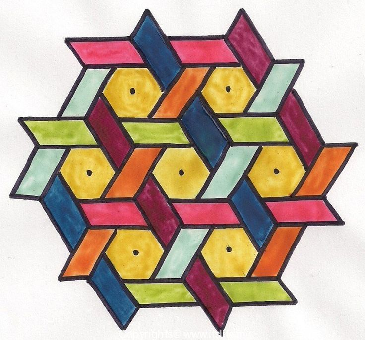 This is an Indian Rangoli art design but could be inspiration for a way of framing hexagons??