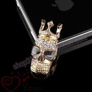 Crystal skull with crown alloy bling phone deco | chriszcoolstuff - Craft Supplies on ArtFire