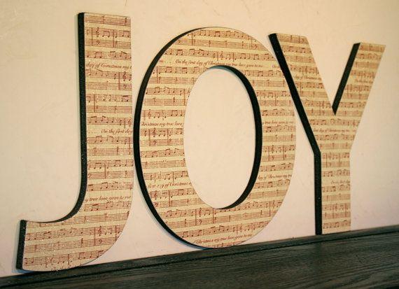 Sheet Music Wall Letters Home Decor Christmas Wall Decor Joy Letters Shabby