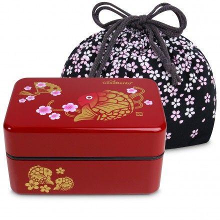 Gold Carp Koi Bento Box - Rot + Tasche