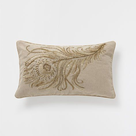 FEATHER EMBROIDERED CUSHION - Cushions - Bedroom | Zara Home United Kingdom