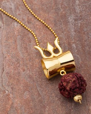 Buy Designer & Fashionable Gold Tone Pendant Studded With Rudraksha We have a wide range of traditional, modern and handmade With Chain Mens Pendants Online