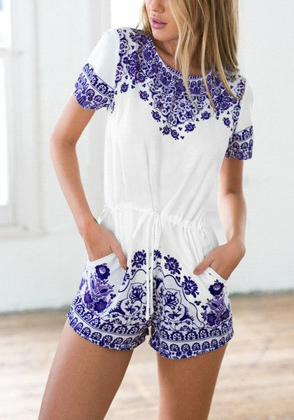 This porcelain print drawstring romper has a stretchable fabric dazzled with gorgeous blue porcelain patterns, crew neckline and side pockets. | Lookbook Store Jumpsuits and Rompers