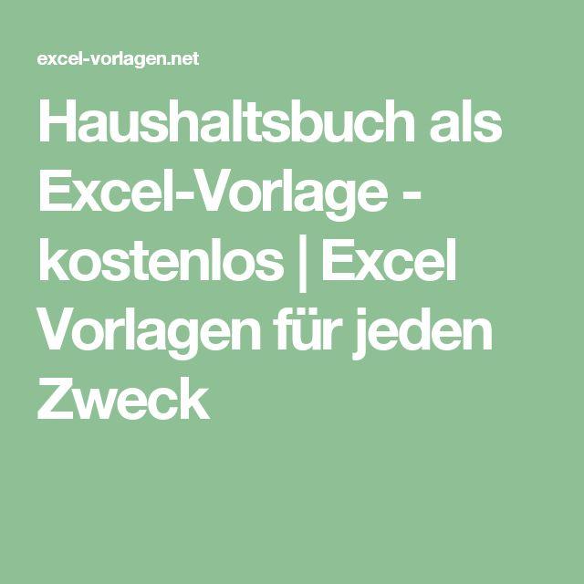 Haushaltsbuch als Excel-Vorlage - kostenlos | Excel Vorlagen für jeden Zweck