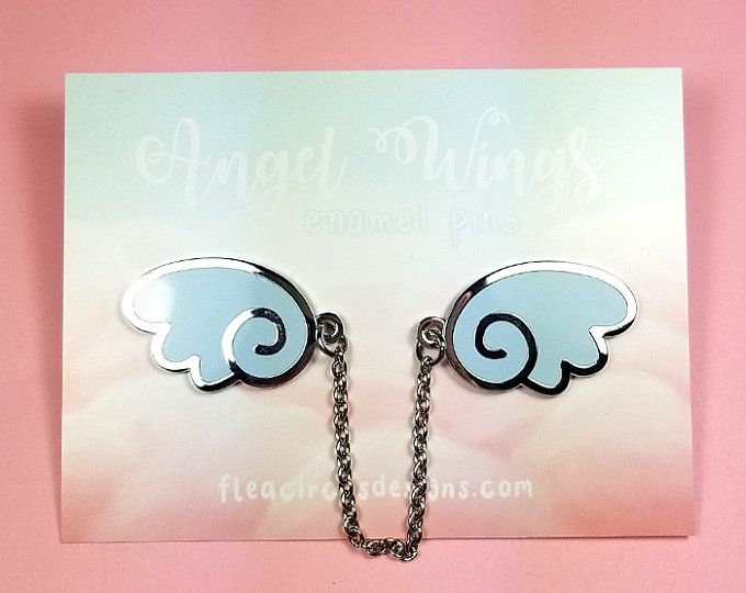 Angel Wings Enamel Pins With Chain Blue Silver Wing Lapel Pin Brooch Badge Flair Collar Pin Hat Pin Kawaii Anime Manga Enamel Pins Silver Wings Silver Lights