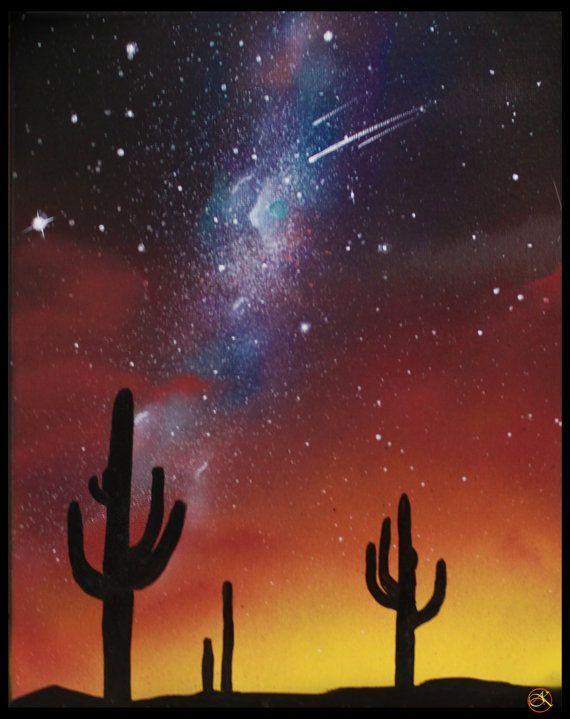 Desert Paintings Arizona Landscape Stars Cactus Silhouette Wall Art Paintings On Canvas Sp Desert Painting Desert Painting Arizona Space Painting Galaxy