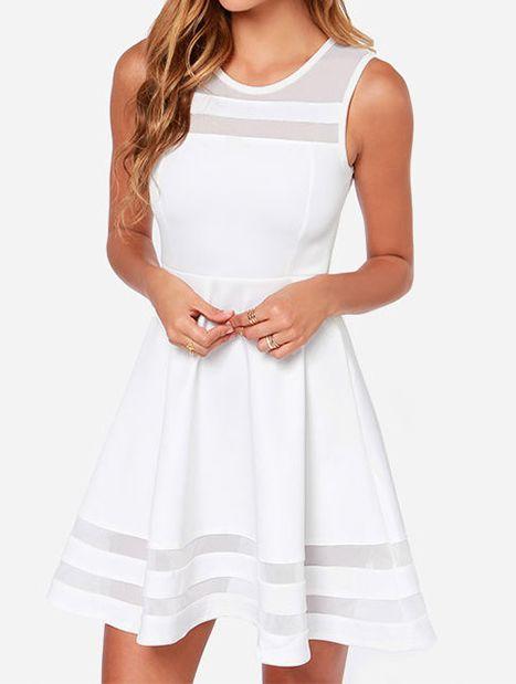 White Sleeveless Sheer Mesh Slim Dress 14.33