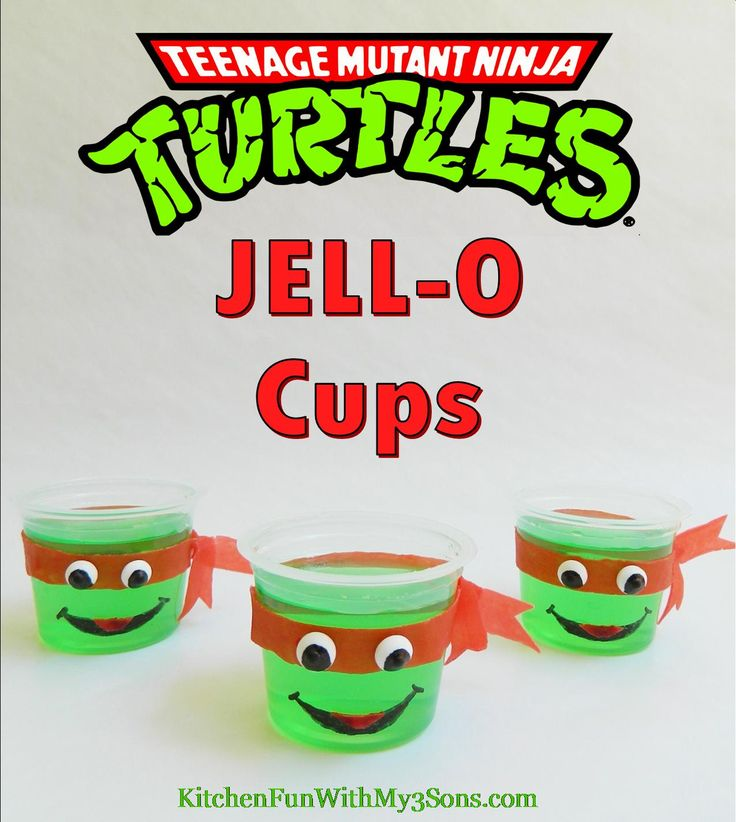 Teenage Mutant Ninja Turtle JELL-O Cups...so easy from KitchenFunWithMy3Sons.com