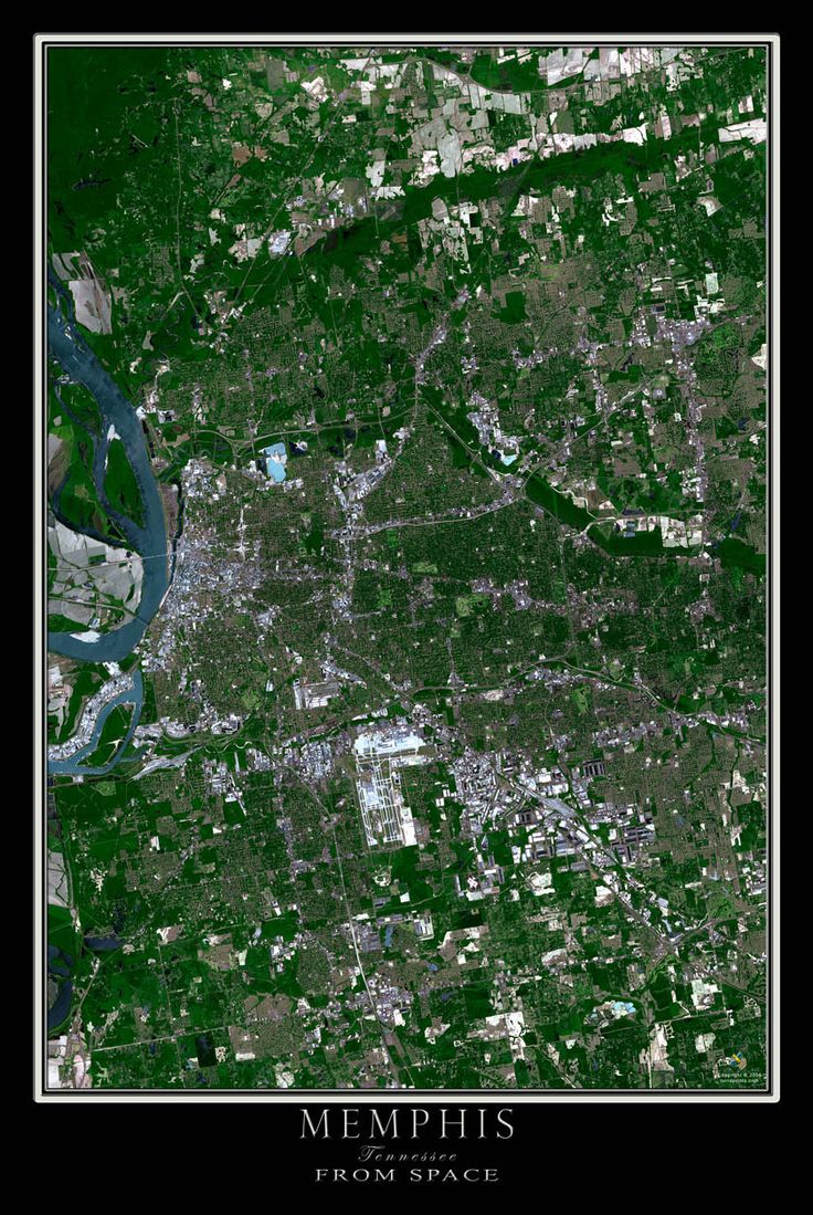memphis tennessee satellite poster map