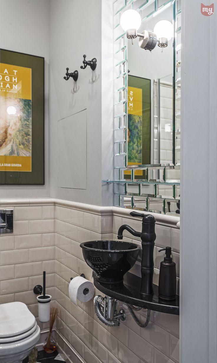 Фотография: Ванная в стиле Кантри, Эклектика, Квартира, Проект недели, Москва, декоративный камин в гостиной, Ольга Абрамова, стеллажи, монолитный дом – фото на InMyRoom.ru