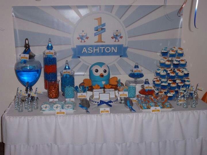 Giggle and hoot lolly buffet we created for my sons 1St birthday _ thanks to my sis for all the amazing graphic designs and all the personalised banners and wrappers. www.facebook.com/cakesbylj