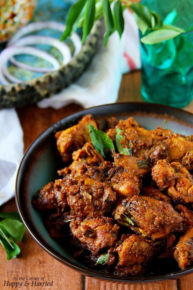 SPICY SOUTH INDIAN CHICKEN ROAST. Bone-in pieces of chicken are cooked in Indian spices and slowly pan roasted to create this dark and spicy chicken roast. Goes great with rice, rotis or any sort of bread.