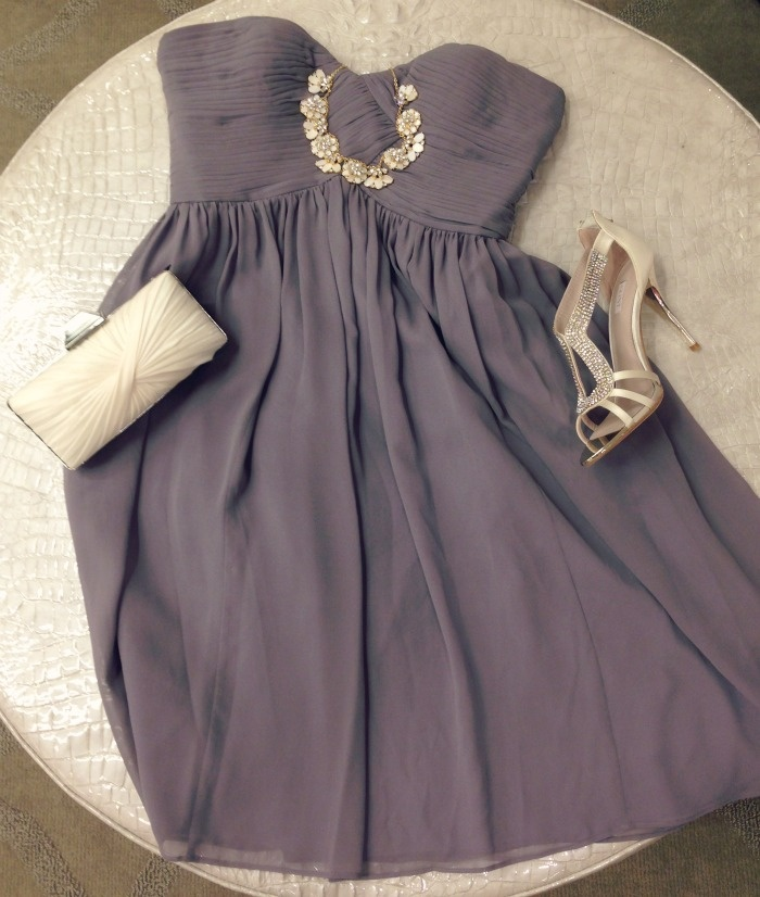 Customer favorite: Donna Morgan 'Morgan' dress. Shown here in 'grey ridge' with Glint shoe, Sondra Roberts clutch, and kate spade new york necklace..