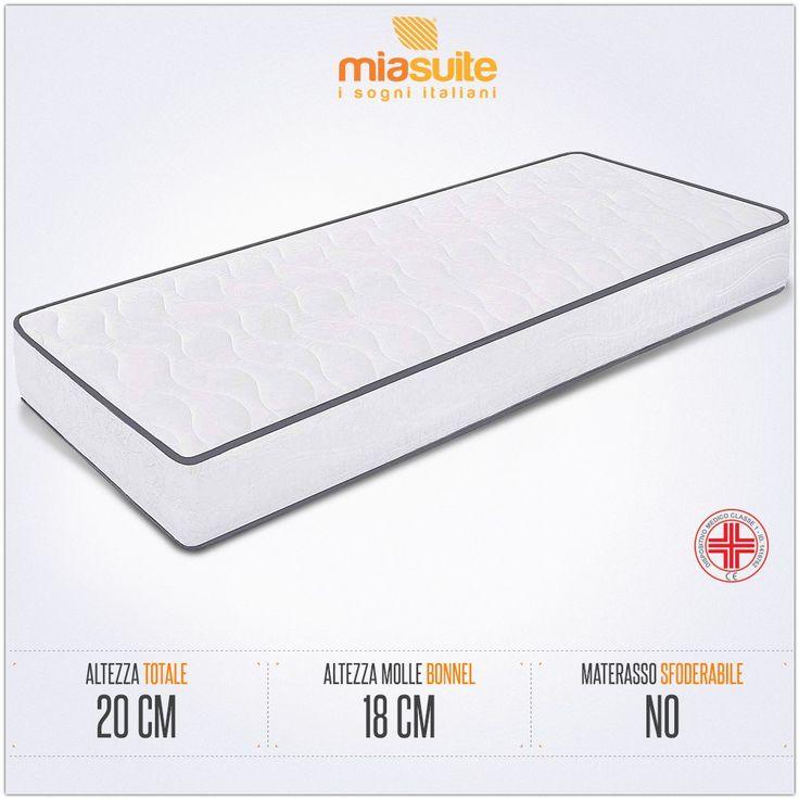 Il materasso a molle singolo Export h 20 è composto da una struttura interna a molle Bonnel alta 18 cm, rivestita in tessuto 100% poliestere.