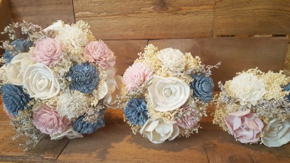 Blush and Slate Dusty Steel Blue Wedding Collection Bridesmaids, Flower Girl, Toss Bouquet Sola Flowers and dried Flowers  Wood Flowers