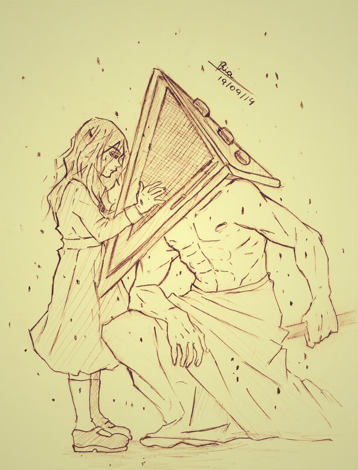 This is so canonically wrong, but worse can be and has been done. ---- Alessa with Pyramid Head