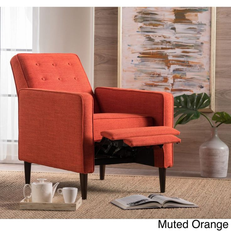 Living Room Indoor Single Club Recliner Chair Tufted Fabric Muted Orange  #SingleClubChair