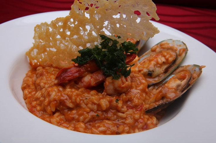 Risotto alla Marinara  Italian Risotto Rice, Prawn, Squid, NZ Green Mussel, Homemade Prawn Marinara Sauce, Parmesan Cheese