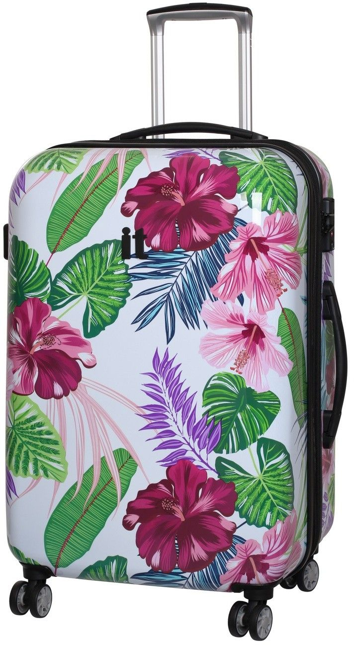 Virtuoso By IT Luggage Medium 65cm Hard Suitcase 8-Wheel Spinner Tiger Lily Floral - Hardcase Luggage - Suitcases