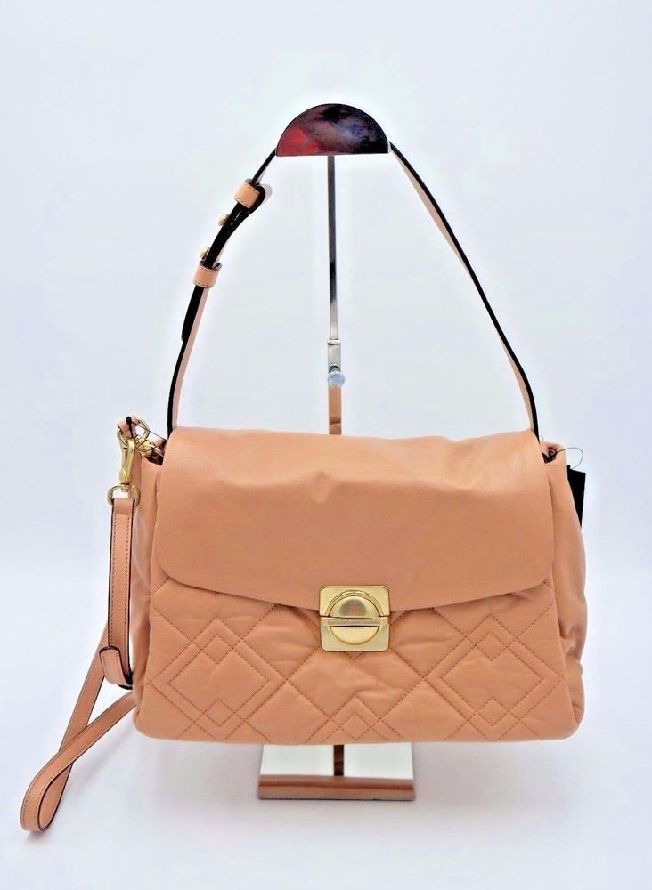 6dad51ce8b7 Marc by Marc Jacobs Beige Leather Circle in Square Quilted Shoulder Bag New   548  MarcbyMarcJacobs