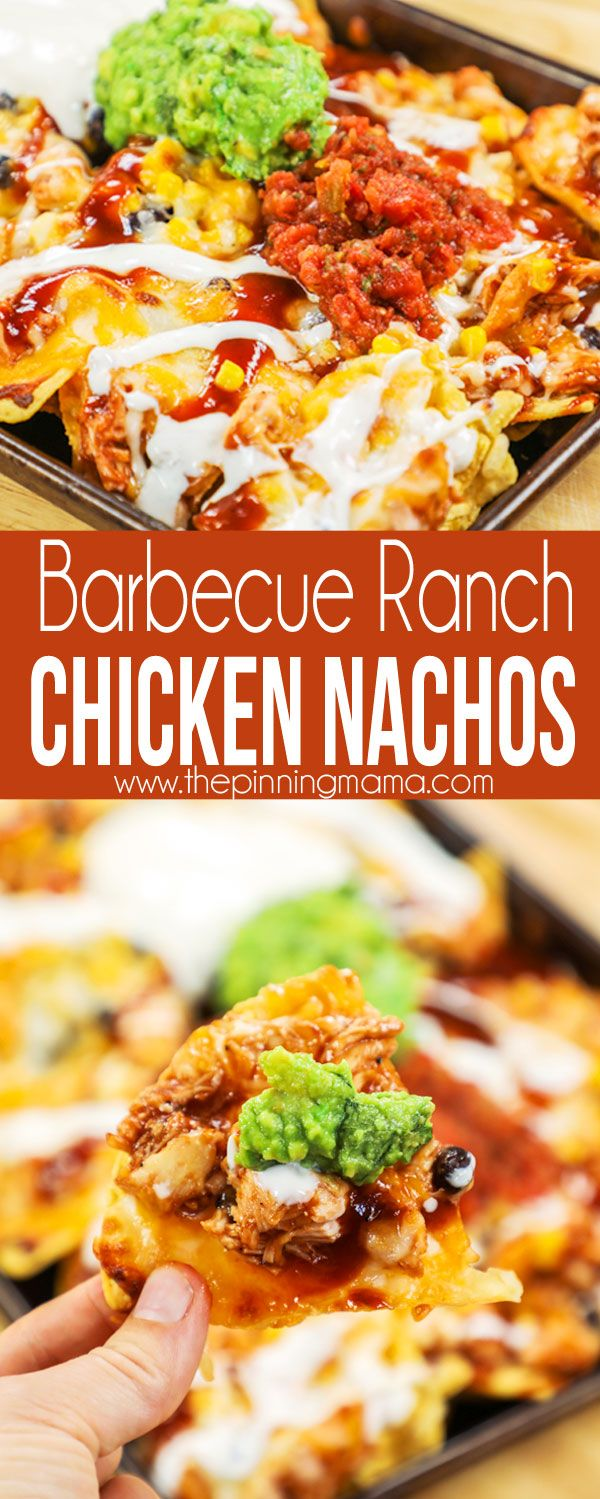 Barbecue Ranch Chicken Nachos on Sheet Pan - perfect for football and tailgating party!