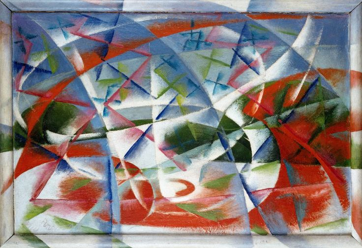 Name: Abstract Speed + Sound / Artist: Giacomo Balla / Date: 1913 - 1914 / Material: Milboard, Oil paint / Size: 54.5 cm x 76.5 cm / Location: Peggy Guggenheim Collection, Venice, Italy