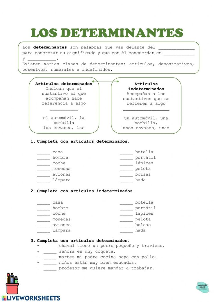 Los determinantes: artículos. - Interactive worksheet Spanish Worksheets, School Subjects, Teaching Spanish, Web Browser, Google Classroom, My Teacher, You Can Do, Colorful Backgrounds, Anna