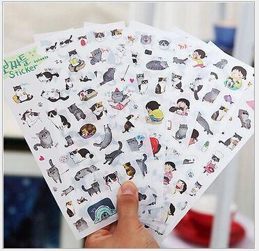 6 Pcs / set New South Korea Transparent Pvc Stickers Cute Cat Diary Photo Album Stickers toy