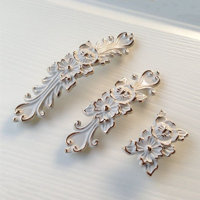 Lovely Shabby Chic Dresser Drawer Pulls Handles Off White Gold / French Country  Kitchen Cabinet Handle Pull