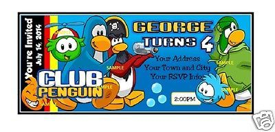 @@ PERSONALIZED CLUB PENGUIN TICKET INVITATIONS FOR HAPPY BIRTHDAY W/ ENVELOPES