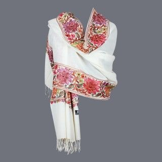 Featuring this beautiful Cream Color Wool Stole in our wide range of Stoles. Grab yourself one Now!