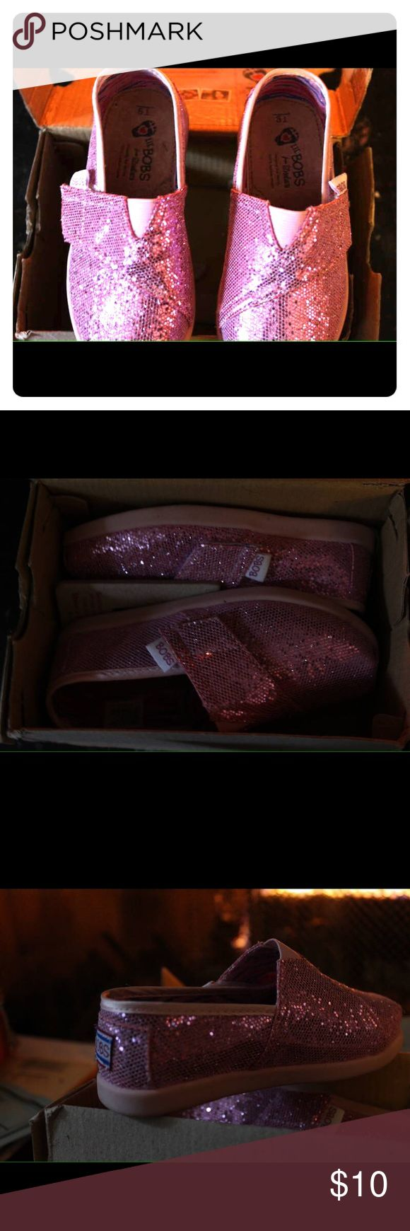 *For Katie* Lil bobs sparkly pink Skechers Pink, sequined kids lil' bobs (Skechers). Velcro closures.  New, never worn. Comes in original box. Skechers Shoes Sneakers