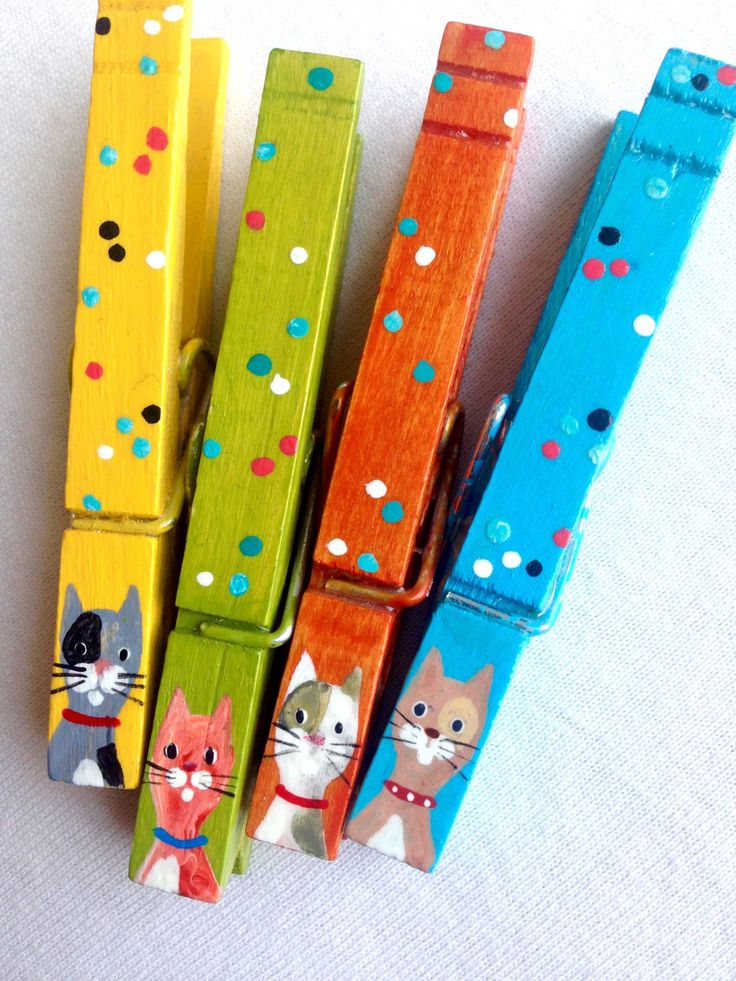 CAT CLOTHESPINS orange blue yellow green hand painted magnets by SugarAndPaint on Etsy