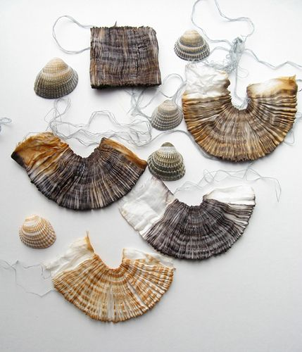 shells by tinctory, via Flickr  dyed with tannin + iron (tea and rust)
