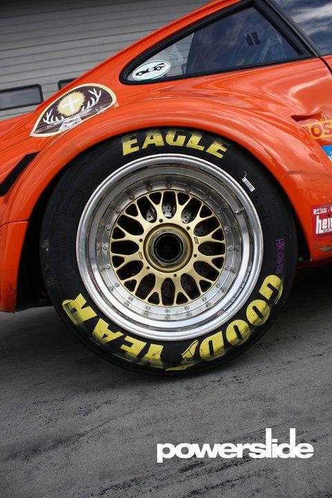 Rear wheel of a 1975 Porsche Carrera RSR
