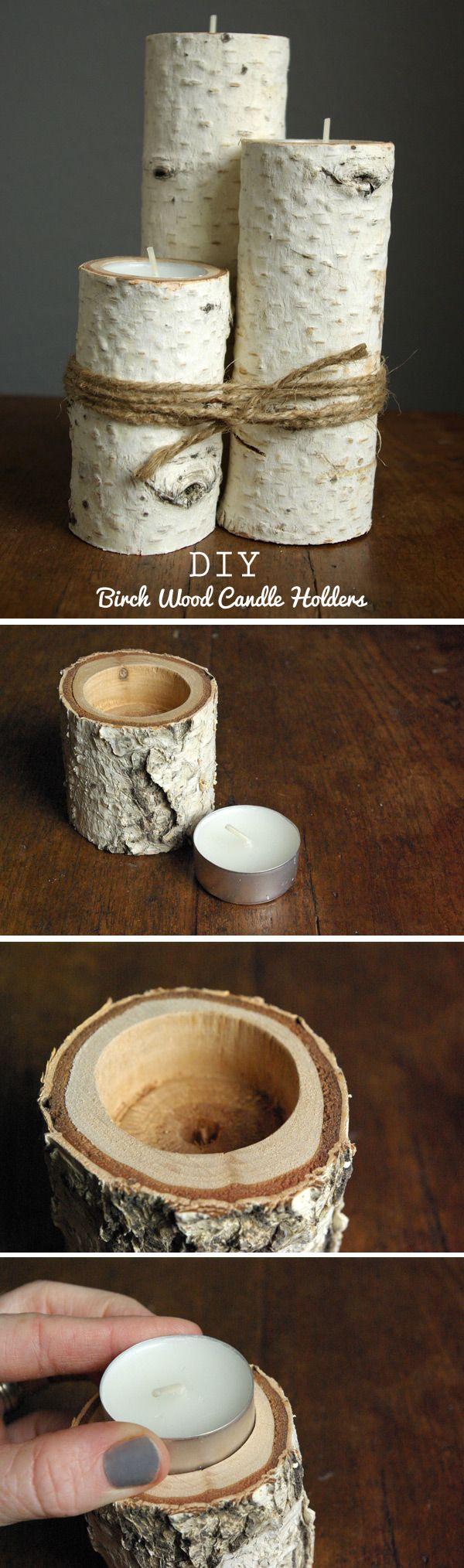 Um simples tronco de madeira pode tornar-se um castiçal diferente e completar a decoração da mesa de jantar. Combine pedaços de madeira com diferentes alturas e espessuras para obter um efeito arrasador. Finalize com um pedaço de corda de sisal.