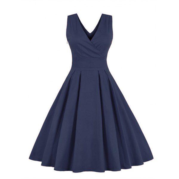 Retro Powrót Bowtie rękawów Sukienka Midi