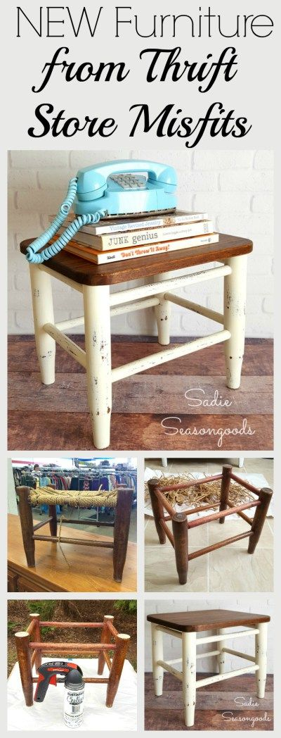 I paired a sad, woven rush footstool that was falling apart...with a thrift store cutting board...to create a brand new piece of furniture! These two thrift store misfits each got a DIY makeover and were transformed into a gorgeous piece I'm proud to display in our home. Fun, easy, and inexpensive- this repurpose / upcycle project looks like it cost a lot more! #SadieSeasongoods / www.sadieseasongoods.com