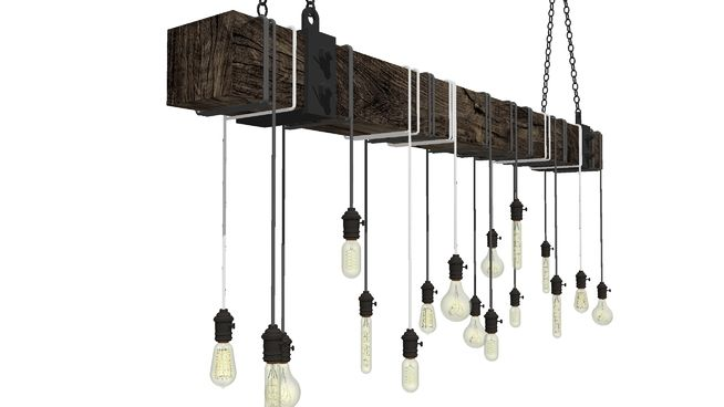 Edison bulb railroad tie chandelier. With steel straps at each end and chain hung. *Amazing Edison bulbs used here are drawn by Дмитрий В. #Edison_Bulb #Railroad_tie #chandelier #Rustic #Farmhouse #ceiling_lighting