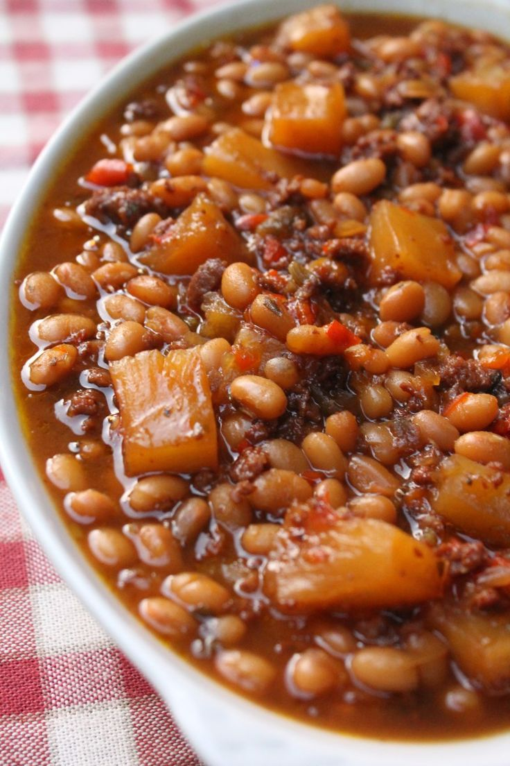 Canned baked beans recipe made with dark brown sugar, ground turkey or beef, molasses, and pineapples. Whenever I throw a barbecue, I make a lot of side dishes. I'm talking about all of my fa…