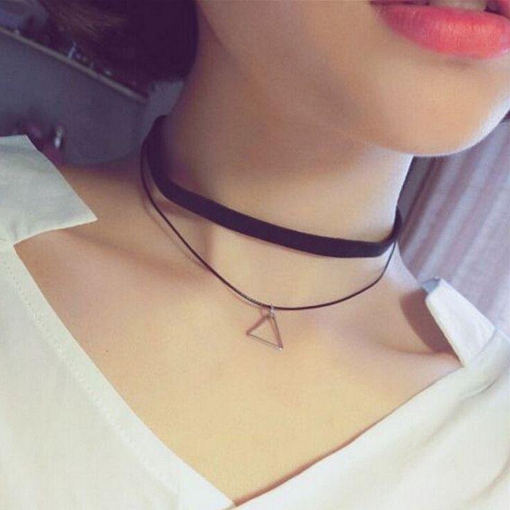Fashion Faux Leather Choker Simple Black Velvet Rope Silver Triangle False Collar Necklace for women collier Bijoux