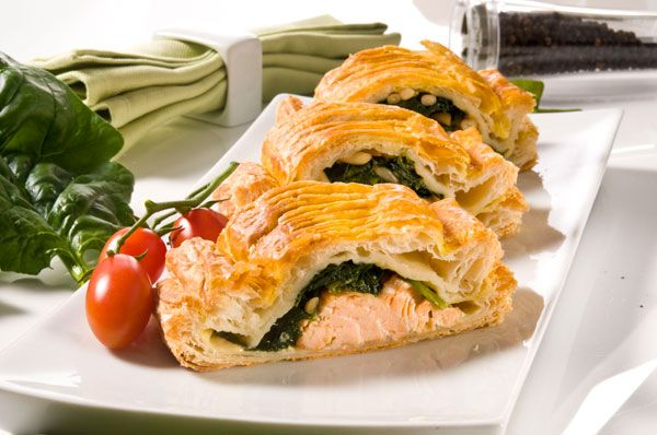 Salmon and spinach in puff pastry