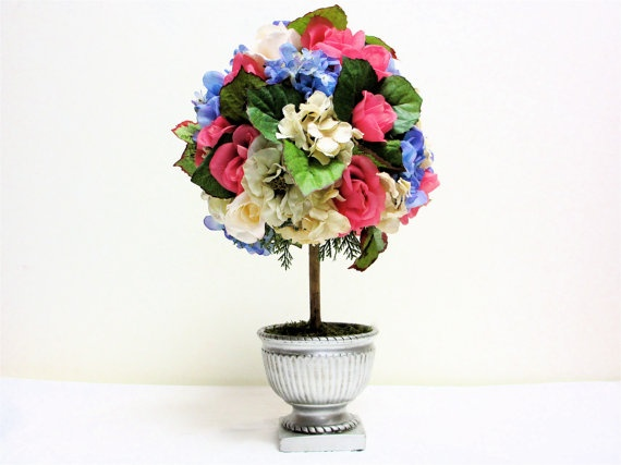 """Cottage Chic Spring Topiary by SandyNewhartDesigns  24""""H x 8""""W: Enter Spring10, Spring Flowers, Mothers Day, Cottages Chic, Flowers Arrangements, Spring Topiaries, Arrangements Sunflowers, Floral Arrangements, Chic Spring"""